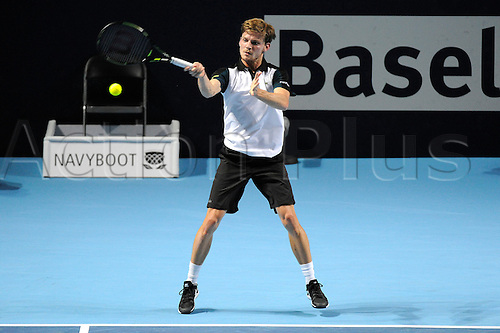 30.10.2015. Basel, Switzerland. Basel Swiss Indoor Tennis Championships. Day Six David Goffin in action in the match between Roger Federer of Switzerland and David Goffin of Belgium