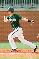 Justin Seager #10 of the Charlotte 49ers follows through on his swing against the Missouri Tigers at Robert and Mariam Hayes Stadium on February 27, 2011 in Charlotte, North Carolina.  Photo by Brian Westerholt / Four Seam Images
