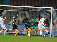 Piotr Zielinski shoots and scores during the  italian serie a soccer match,between SSC Napoli and Inter      at  the San  Paolo   stadium in Naples  Italy , December 02, 2016