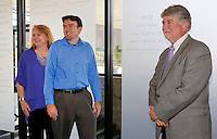 NWA Democrat-Gazette/DAVID GOTTSCHALK   Lisa Higgins (from left), Justin Minkel and Larry Foley stand in front of their etched names on the new Hall of Honor Wall at Fayetteville High School Thursday, August 13, 2015. The newest additions to the Fayetteville Schools Hall of Honor were announced by the Fayetteville Public Education Foundation. Higgins, Minkel, and Foley were inducted along with the late John Sherman Lollar.