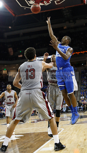 UK guard Doron Lamb shoots a floater over South Carolina's Anthony Gill during the second half of the University of Kentucky Men's basketball game against University of South Carolina on 2/4/12 in Columbia, SC. Photo by Quianna Lige | Staff