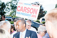 Republican presidential candidate Dr. Ben Carson meets with people at Londonderry Old Home Day in Londonderry, New Hampshire.