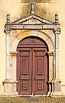 Doorway of Church Igreja Matriz de Nossa Senhora da Assunçãoin, village of Alvito, Beja District, Baixo Alentejo, Portugal, southern Europe