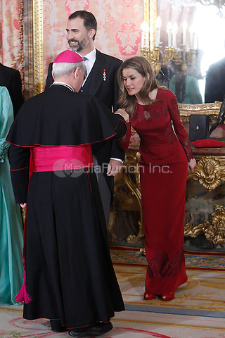 Prince Felipe of Spain and Princess Letizia of Spain attends the reception of the diplomatic corps in Spain at Palacio Real. January 23, 2013. (ALTERPHOTOS/Caro Marin) /NortePhoto /MediaPunch Inc. ***FOR USA ONLY***