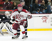 Sean Malone (Harvard - 17), Charlie Donners (Bentley - 15) - The Harvard University Crimson defeated the visiting Bentley University Falcons 3-0 on Saturday, October 26, 2013, in Harvard's season opener at Bright-Landry Hockey Center in Cambridge, Massachusetts.