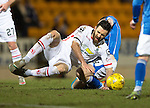 St Johnstone v Inverness Caley Thistle&hellip;09.03.16  SPFL McDiarmid Park, Perth<br />Ross Draper is fouled bt Steven MacLean<br />Picture by Graeme Hart.<br />Copyright Perthshire Picture Agency<br />Tel: 01738 623350  Mobile: 07990 594431