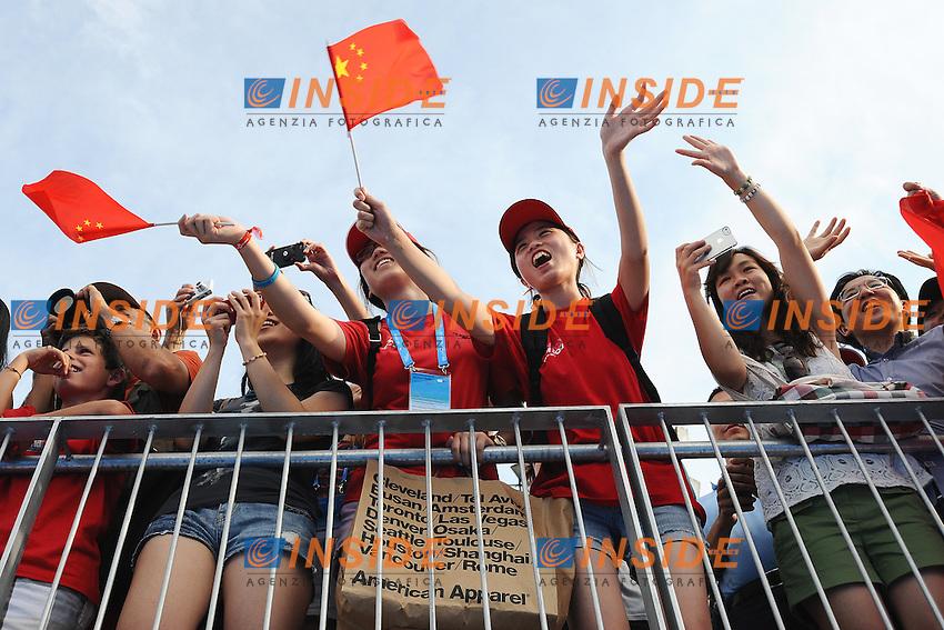 Supporters of China <br /> Diving Men's 3m Springboard Synchro Final - Tuffi Trampolino 3m Sincronizzato Uomini finale <br /> Barcellona 23/7/2013 Piscina Municipal <br /> Barcelona 2013 15 Fina World Championships Aquatics <br /> Foto Andrea Staccioli Insidefoto