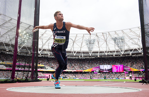August 12th 2017, London Stadium, East London, England; IAAF World Championships, Day 9;  French athlete Kevin Mayer competes in the men's discus decathlon event at the IAAF World Championships in London, UK, 12August 2017.