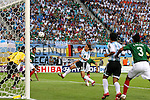 24 June 2006: Hernan Crespo (ARG) was credited with the goal on this 10th minute shot, which tied the game 1-1. Argentina (1st place in Group C) defeated Mexico (2nd place in Group D) 2-1 in overtime at the Zentralstadion in Leipzig, Germany in match 50, a Round of 16 game, in the 2006 FIFA World Cup.