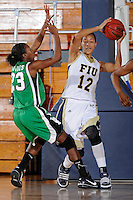 6 February 2010:  FIU's Elisa Carey (12) battles North Texas' Niq'ky Hughes (23) for a rebound in the second half as the FIU Golden Panthers defeated the North Texas Mean Green, 72-55, at the U.S. Century Bank Arena in Miami, Florida.