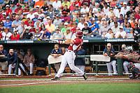 Andrew Benintendi (16) of the Arkansas Razorbacks bats during a game between the Virginia Cavaliers and Arkansas Razorbacks at TD Ameritrade Park on June 13, 2015 in Omaha, Nebraska. (Brace Hemmelgarn/Four Seam Images)
