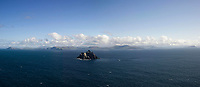 The panorama view of Little Skellig looking East onto the South Kerry Coast and viewed from Skellig Michael.<br /> Photo Don MacMonagle