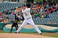 Jarrett Grube (39) of the Salt Lake Bees delivers a pitch to the plate against the Memphis Redbirds at Smith's Ballpark on June 18, 2014 in Salt Lake City, Utah.  (Stephen Smith/Four Seam Images)