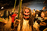 OGA, JAPAN - FEBRUARY 10: Men dressed in straw clothes and orge masks as Namahage, or mountain demons, march down from a snow mountain with flaming torches during the Namahage Sedo Festival at Shinzan Shrine on February 10, 2019 in Oga, Akita prefecture, Japan. (Photo by Richard Atrero de Guzman/Aflo)