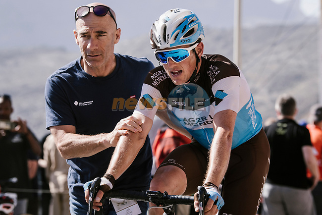 Mathias Frank (SUI) AG2R La Mondiale crosses the finish line at the end of Stage 5 of the 10th Tour of Oman 2019, running 152km from Samayil to Jabal Al Akhdhar (Green Mountain), Oman. 20th February 2019.<br /> Picture: ASO/P. Ballet | Cyclefile<br /> All photos usage must carry mandatory copyright credit (© Cyclefile | ASO/P. Ballet)