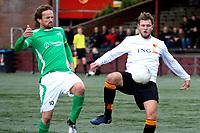 HAREN - Voetbal, Be Quick - HSC 21, derde divisie zondag, seizoen 2017-2018, 05-11-2017,  Daan Driever (r) krijgt goede kans in duel met Erwin Nieuwboer