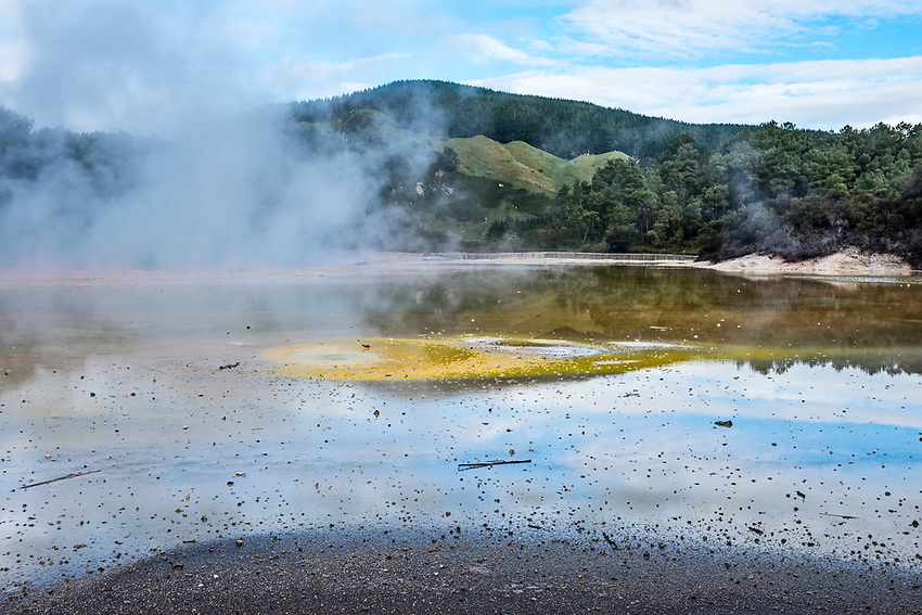 "Steaming ""Champagne Pool"" at the Wai-O-Tapu ""Thermal Wonderland,"" Rotorua, New Zealand"