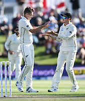 21st November 2019; Mt Maunganui, New Zealand;  Tim Southee celebrates the dismissal of England's Joe Denly with Mitchell Santner. international test match cricket, Day 1, New Zealand versus England at Bay Oval, Mt Maunganui, New Zealand.