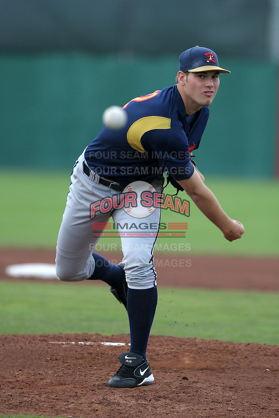 State College Spikes Adam Ottavino during a NY-Penn League game at Dwyer Stadium on June 29, 2006 in Batavia, New York.  (Mike Janes/Four Seam Images)