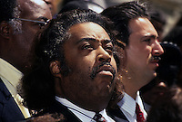 (021205-SWR03.jpg) 28 April 93 - New York, NY - The Reverend Al Sharpton and Adam Clayton Powell IV call for Federal monitoring of the school board elections,  on the steps of City Hall.