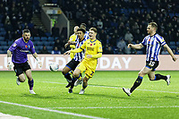 George Byers of Swansea City (C) failes to score from close range against Keiren Westwood of Sheffield Wednesday (L) during the Sky Bet Championship match between Sheffield Wednesday and Swansea City at Hillsborough Stadium, Sheffield, England, UK. Saturday 09 November 2019