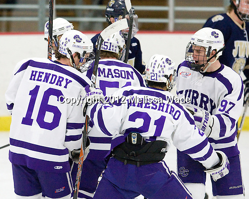 Connor Hendry (Curry - 16), Greg Fosso (Curry - 7), Chris Mason (Curry - 51), Brett Kaneshiro (Curry - 21), Jordan Reed (Curry - 97) - The Curry College Colonels defeated the Johnson & Wales University Wildcats 5-4 on Curry's senior night on Saturday, February 18, 2012, at Max Ulin Rink in Milton, Massachusetts.