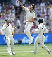 28th December 2019; Melbourne Cricket Ground, Melbourne, Victoria, Australia; International Test Cricket, Australia versus New Zealand, Test 2, Day 3; Pat Cummins of Australia celebrates a wicket
