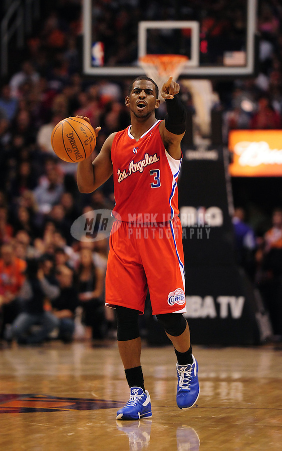 Mar. 2, 2012; Phoenix, AZ, USA; Los Angeles Clippers guard Chris Paul calls a play during the game against the Phoenix Suns at the US Airways Center. The Suns defeated the Clippers 81-78. Mandatory Credit: Mark J. Rebilas-USA TODAY Sports