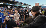 Norichika Aoki (Royals),<br /> OCTOBER 15, 2014 - MLB : Norichika Aoki (L) of the Kansas City Royals celebrates with his wife Sachi (R) and children after winning the Major League Baseball American League Championship Series against the Baltimore Orioles Game 4 at against the Baltimore Orioles at Kauffman Stadium in Kansas City, Missouri, USA. <br /> (Photo by AFLO)