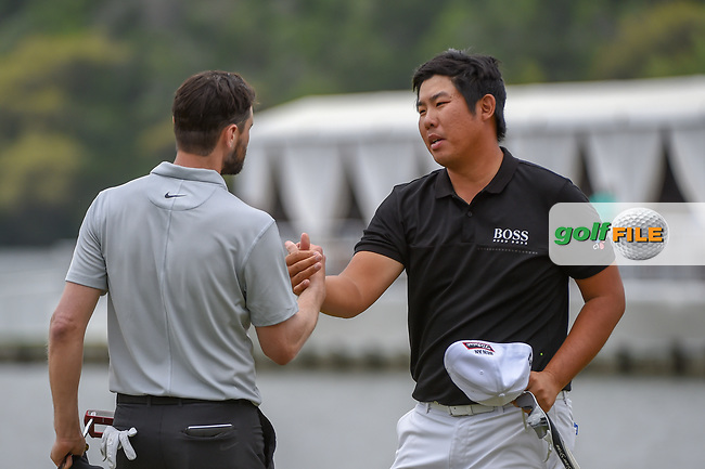 Kyle Stanley (USA) congratulates Byeong Hun An (KOR) for his match win during day 3 of the WGC Dell Match Play, at the Austin Country Club, Austin, Texas, USA. 3/29/2019.<br /> Picture: Golffile | Ken Murray<br /> <br /> <br /> All photo usage must carry mandatory copyright credit (© Golffile | Ken Murray)