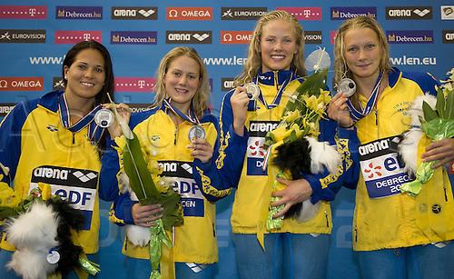 21.05.2012.  Debrecen Hungary. 4x100 Freestyle Women SWE  Fagundez Gabriella  Ida Coleman Michelle Sjoestroem Sarah  European Swimming Championships 2012