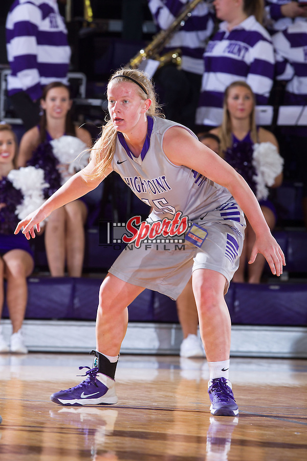 Maja Michalska (15) of the High Point Panthers on defense against the Davidson Wildcats at Millis Athletic Center on November 24, 2013 in High Point, North Carolina.  The Panthers defeated the Wildcats 100-65.   (Brian Westerholt/Sports On Film)