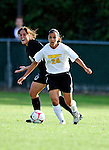 28 August 2009: University of Vermont Catamounts' forward Nicoleta Hardesty, a Freshman from Dobbs Ferry, NY, in action against the University of Montreal Carabins at Centennial Field in Burlington, Vermont. The Catamounts defeated the Carabins 3-2 in sudden death overtime. Mandatory Photo Credit: Ed Wolfstein Photo