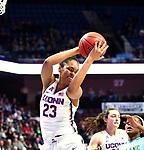 UNCASVILLE, CONNECTICUT -MAR 04: UCONN's #23 Azura Stevens grabs one of her game high rebounds as the Huskies advance to the semis of the AAC tourney, on March 4, 2018 in Uncasville, Connecticut. ( Photo by D. Heary/Eclipse Sportswire/Getty Images)