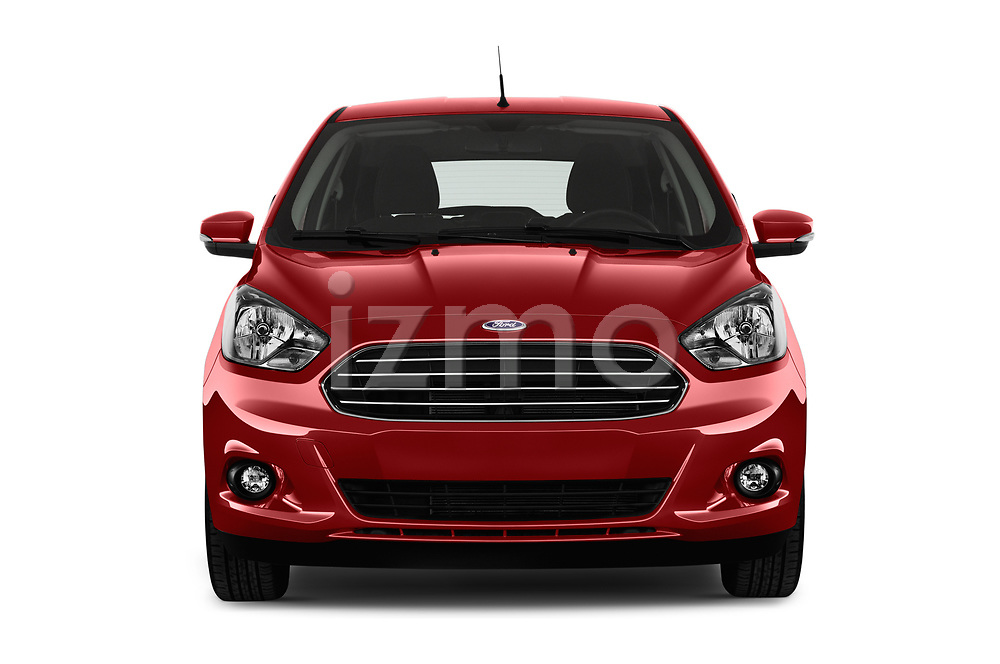 Car photography straight front view of a 2017 Ford KA+ Ultimate 5 Door Hatchback Front View