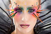 London, UK. 2 October 2016. Design by Dora Makovics.  An Ode to Bowie, a make-up and bodypainting competition inspired by David Bowie, takes place on the first day of the Olympia Beauty 2016 trade fair at Olympia London.