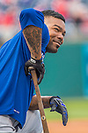 7 October 2016: Los Angeles Dodgers outfielder Howie Kendrick awaits his turn in the batting cage prior to the first game of the NLDS against the Washington Nationals at Nationals Park in Washington, DC. The Dodgers edged out the Nationals 4-3 to take the opening game of their best-of-five series. Mandatory Credit: Ed Wolfstein Photo *** RAW (NEF) Image File Available ***