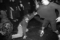 Guy thrown down in the mosh pit at Zero Bull Shit at La Val's Pizza.<br />