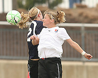 Becky Sauerbrunn (blue) of the Washington Freedom goes up for a high ball with Noelle Keselica of Sky Blue F.C. during a WPS pre season match at Maryland Soccerplex,in Boyd's, Maryland on March 14 2009. Sky Blue won the match 1-0