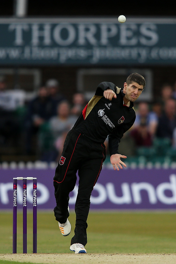 Leicestershire's Colin Ackerman in delivery stride <br /> <br /> Photographer Andrew Kearns/CameraSport<br /> <br /> NatWest T20 Blast - Leicestershire Foxes vs Northamptonshire Steelbacks - Friday 21st July 2017 - Grace Road Leicester <br /> <br /> World Copyright &copy; 2017 CameraSport. All rights reserved. 43 Linden Ave. Countesthorpe. Leicester. England. LE8 5PG - Tel: +44 (0) 116 277 4147 - admin@camerasport.com - www.camerasport.com