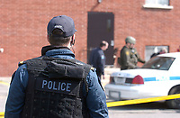 2003 File Photo<br /> <br /> A SWAT Policeman  after an hostage crisis near  Montreal, CANADA.<br /> <br /> <br /> (Mandatory Credit: Photo by Sevy - Images Distribution (©) Copyright 2003 by Sevy<br /> <br /> NOTE :  D-1 H original JPEG, saved as Adobe 1998 RGB.