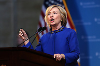 Former Secretary of State Hillary Rodham Clinton delivers the keynote address at 18th Annual David N. Dinkins Leadership and Public Policy Forum at Columbia University, in New York, April 29, 2015. AFP PHOTO/TREVOR COLLENS