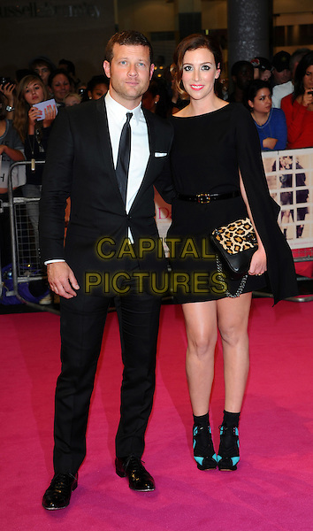 "Dermot O'Leary & Dee Koppang.""One Day"" UK premiere, Vue Westfield cinema, Westfield Shopping Centre, London, England..August 23rd, 2011.full length dress couple black white suit tie shirt.CAP/CJ.©Chris Joseph/Capital Pictures."