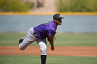 Colorado Rockies starting pitcher Jeffri Ocando (40) follows through on his delivery during an Extended Spring Training game against the Chicago Cubs at Sloan Park on April 17, 2018 in Mesa, Arizona. (Zachary Lucy/Four Seam Images)