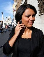La deputata Simona Bonafe' arriva all'Assemblea Nazionale del Partito Democratico per la seconda giornata di lavori, a Roma, 21 settembre 2013.<br /> Lawmaker Simona Bonafe' arrives for the second day of the Italian Democratic Party's National Assembly in Rome, 21 September 2013.<br /> UPDATE IMAGES PRESS/Riccardo De Luca