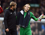 Liverpool Manager Jurgen Klopp and Liverpool goalkeeper Loris Karius the end of the premier league match at Goodison Park Stadium, Liverpool. Picture date 7th April 2018. Picture credit should read: Robin Parker/Sportimage