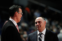 Real Madrid's Pablo Laso and Brose's Chris Fleming during Euroliga match. February 28,2013.(ALTERPHOTOS/Alconada)