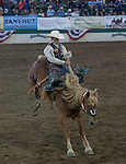 CoBurn Bradshaw from Beaver, UT rides Dirty Diane during Wolf Pack Night at the Reno Rodeo on Wednesday, June 22, 2016.