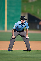 Umpire Austin Jones during a Southern League game between the Mississippi Braves and Jackson Generals on July 23, 2019 at The Ballpark at Jackson in Jackson, Tennessee.  Jackson defeated Mississippi 2-0 in the first game of a doubleheader.  (Mike Janes/Four Seam Images)