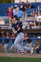 State College Spikes second baseman Michael Massi (16) at bat aduring a game against the Batavia Muckdogs August 22, 2015 at Dwyer Stadium in Batavia, New York.  State College defeated Batavia 5-3.  (Mike Janes/Four Seam Images)
